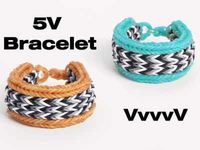 VvvvV - 5V Bracelet - 10 Pin Flat Fishtail - Advanced Rainbow Loom Tutorial