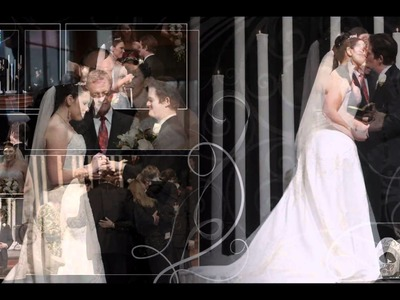 Allison and Brandon's wedding album layout.