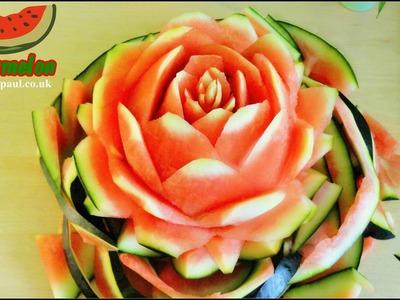 Art In Watermelon Rose Flower Art of Vegetable and Fruit Carving Garnish  | Fruit Decoration