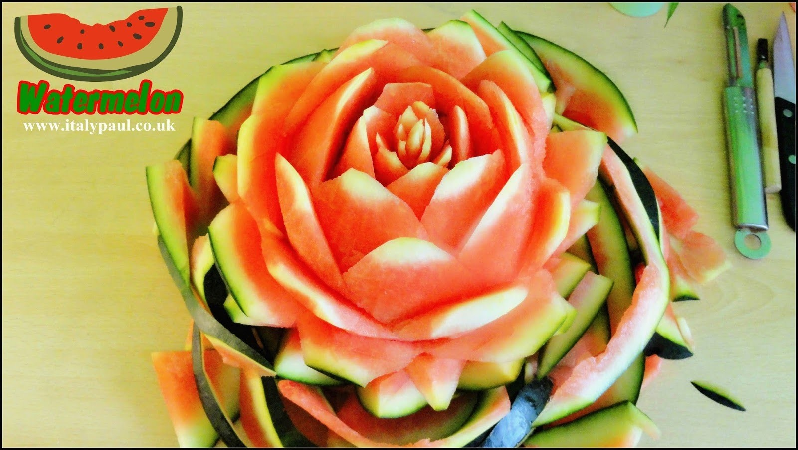 Art In Watermelon Rose Flower Art of Vegetable and Fruit Carving Garnish  | Fruit Decoration