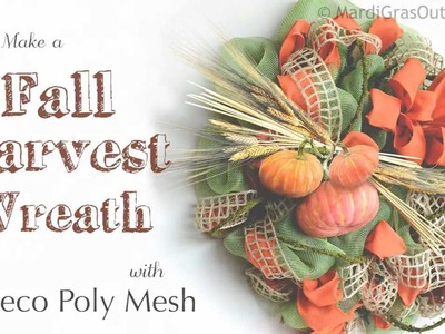 How to Make a Fall Harvest Wreath with Deco Mesh