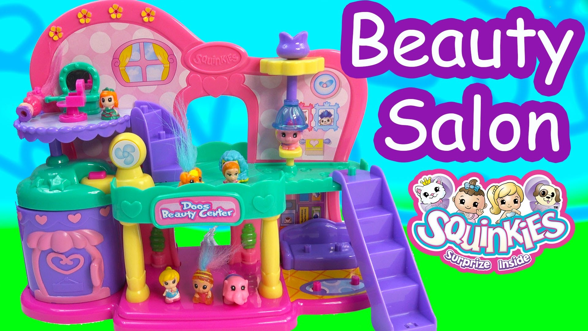 Squinkies Doos Beauty Center Spa Salon Playset Squishy Troll Hair Style Cookieswirlc