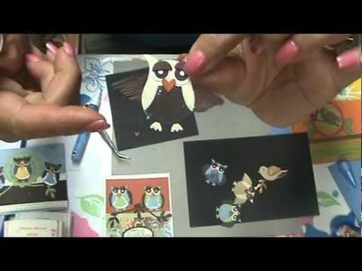 Two step owl punch card and Bird punch