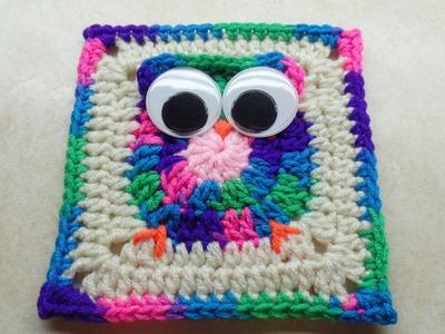 #Crochet Easy Owl Granny Square #TUTORIAL