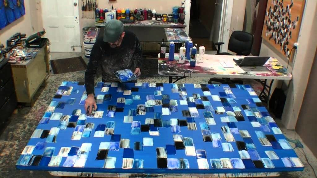 How to create large acrylic abstract art using textured paint demonstraction