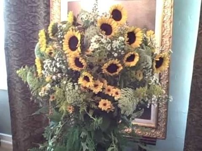 How To Florist - Sunflowers In Moss Wrapped Vase Entry Arrangement - Part 2
