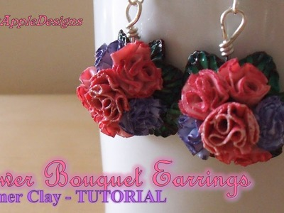 Polymer Clay Flower Bouquet Earrings Charms TUTORIAL