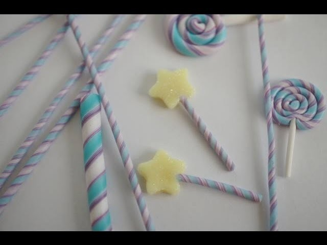 Polymer Clay Miniature Lollipop, and Straw Tutorial in Little Twin Star Colors