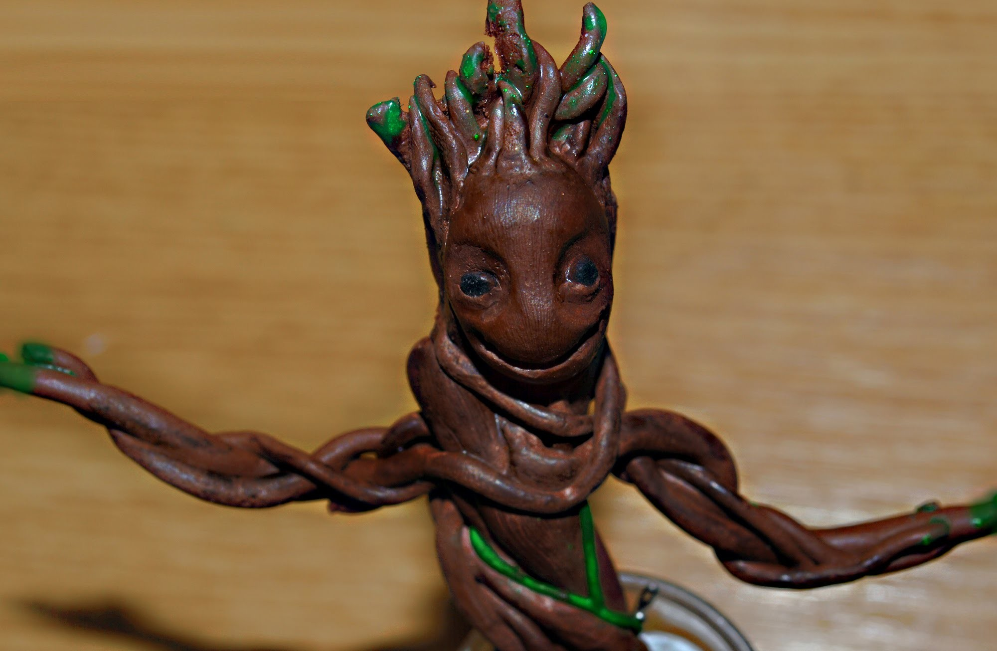 Polymer clay tutorial dancing baby Groot (Guardians of the Galaxy Groot)