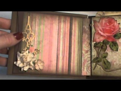Shabby chic coin envelope mini album with vintage images hinge technique