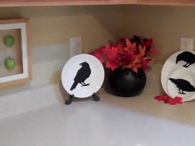 Thrifty Halloween Fall Decor Silhouettes and Skull display