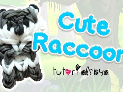 Cute Raccoon Charm. Mini Figurine Rainbow Loom Tutorial | How To