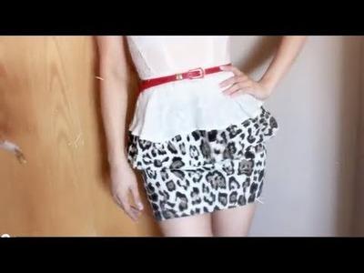 DIY: Leopard peplum stretchy Skirt