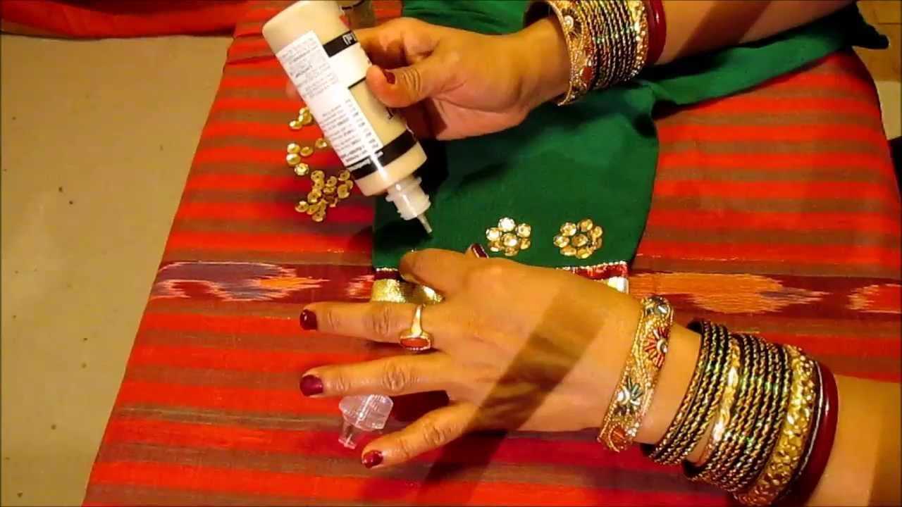 HOW TO DECORATE  SAREE BLOUSE WITH LACE(TRIM), SEQUINS AND GIVE IT  A DESIGNER LOOK.