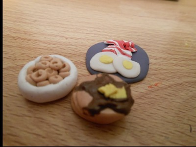 How to make doll breakfast, food, pancake, bacon egg, cereal, polymer clay