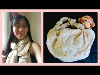 How to Turn a Scarf into a Bag - NO SEWING! Quick & Easy Way to Wear a Scarf - Tutorial
