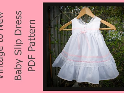 PDF Sewing Pattern Baby Slip Dress Vintage Look with Diaper Cover