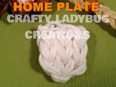 Rainbow Loom Bands BASEBALL HOME PLATE CHARM How To Make Tutorial by Crafty Ladybug