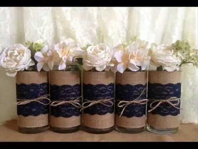 Rustic wedding mason jar vases candles burlap and lace centerpieces
