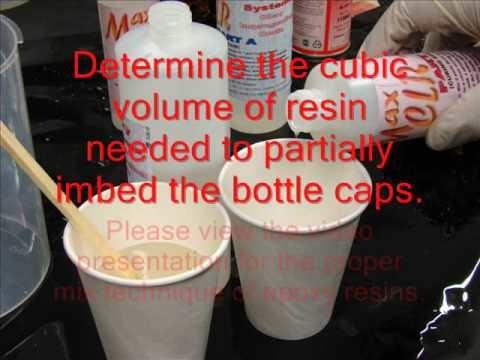 BOTTLE CAP IMBEDDING WITH AN EPOXY RESIN