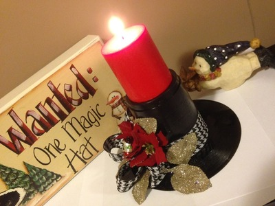 Easy Pinterest Inspired Snowman Hat Candle Holder
