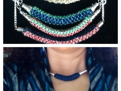 Easy to make boxy cord necklace (square)