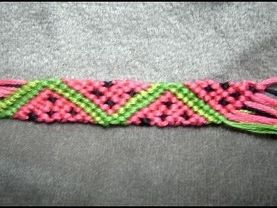 ► Friendship Bracelet Tutorial - Beginner - Watermelon Slices (original)