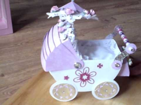 HANDMADE CARD BEAUTIFUL 3D BABY PRAM COMPLETE WITH PILLOW.QUILT & BOX
