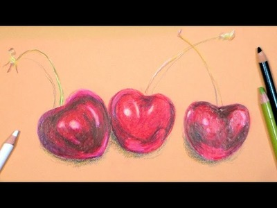 How to Draw and Color Cherries with Colored Pencils