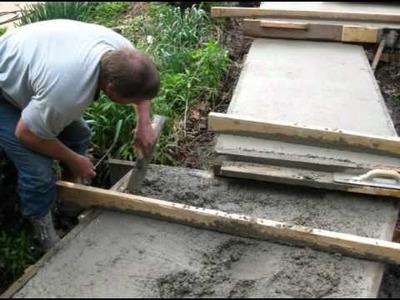New decorative concrete garden sidewalk built.
