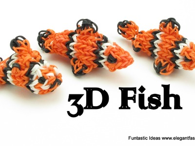 Rainbow Loom Fish.Clown Fish.Finding Nemo 3D Charm - How to