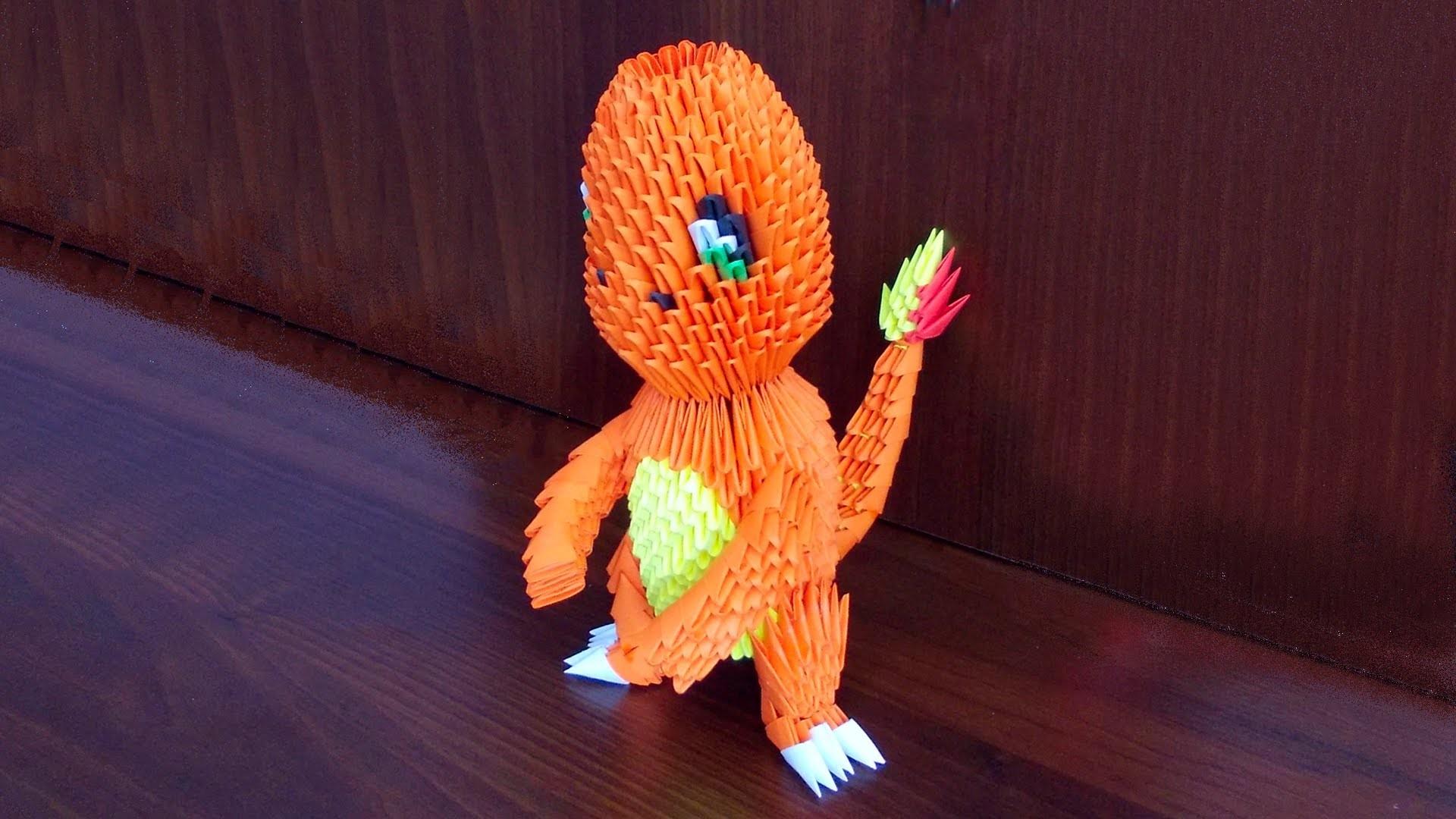 3D Origami Pokemon Charmander Tutorial Instruction