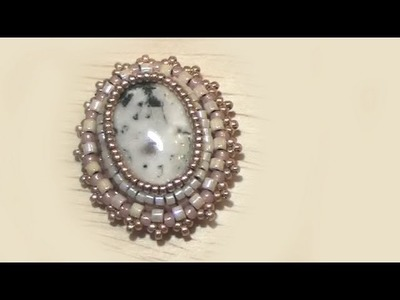 BeadsFriends: Bead Embroidery pendant with semi precious stone cabochon | Beaded Jewelry