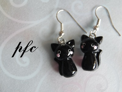 DIY Black Cat Earrings Polymer Clay Tutorial