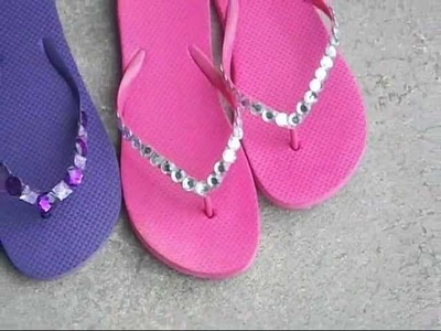 DIY Project - More Blinged Out Flip Flops From Dollar Tree