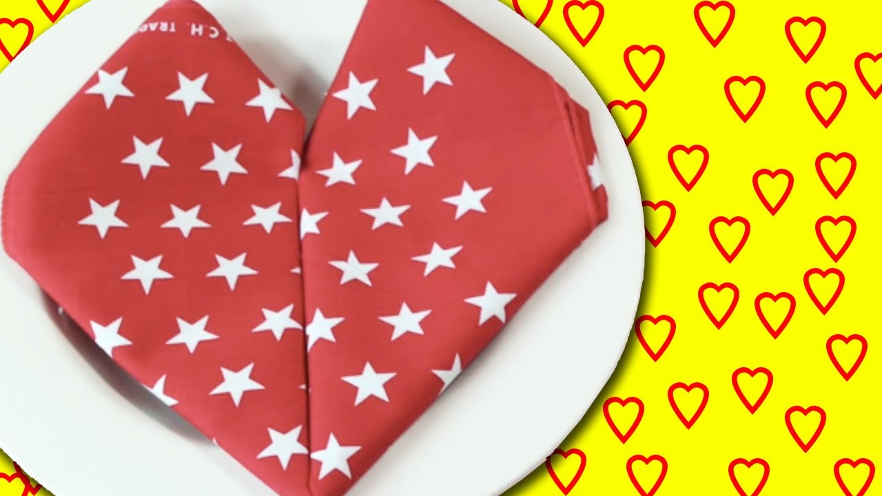 DIY Valentine Room Decor: How to Make a Heart Napkin Fold | Quick and Easy Valentine 's Ideas