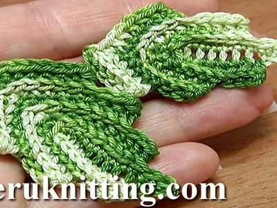 How To Crochet Leaf Making Front Post Stitches Tutorial 10