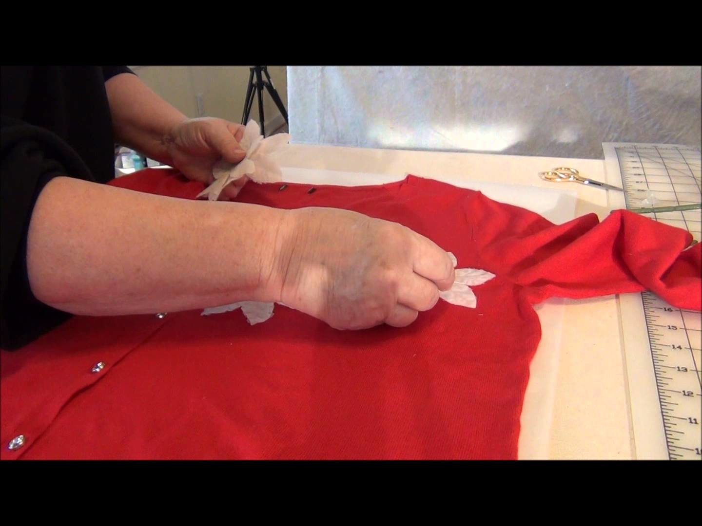 HOW TO EMBELLISH A SWEATER WITH SILK FLOWERS