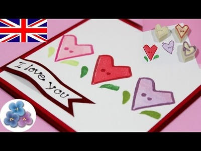 How to make Valentines Day carve Stamps DIY *Heart Valentines Cards* Valentine's Love Cards Mathie