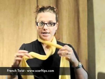 How To Tie A Scarf Into A French Twist - www.ScarfTips.com