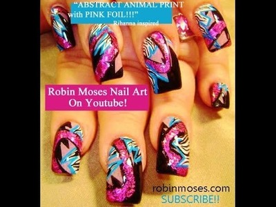 Nail Art Tutorial | DIY Hot Pink and Black Nails | Foil & Animal Print Design