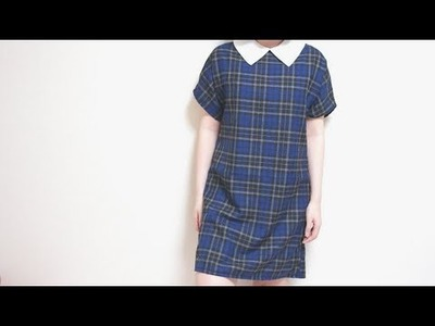 Sewing + DIY Tartan Exposed Zipper Dress & Detachable Pointy Collar