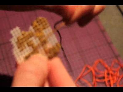 Cross Stitching video game sprites onto plastic canvas