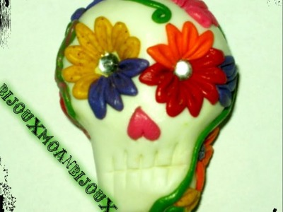 Day of the dead polymer clay sugar skull. halloween