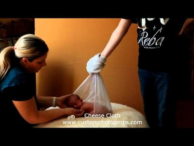 Hanging Sling Cheesecloth Newborn Baby Photo Prop Safety and Instructional video