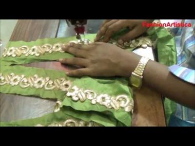 How To Make Saree Blouse Choli lace Making-Sewing Cutting Method Of Sari Blouse Gota