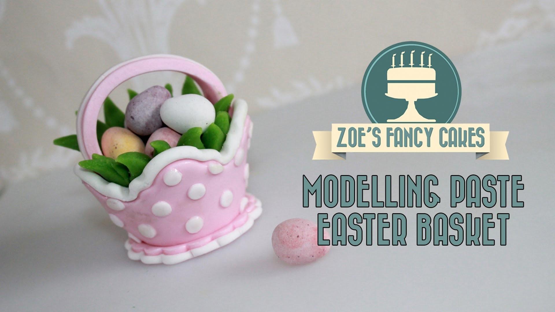 Modelling paste Easter basket cake topper for mini eggs fondant cake decorating tutorials