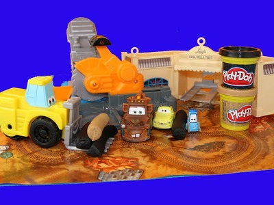 Play Doh Saw Mill Diggin' Rigs Mater Breaks Luigi Guido Tires Disney Cars Work at Play-Doh Saw Mill