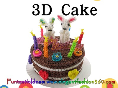 "Rainbow Loom 3D cake 6"" Live Size - How to loom bands tutorial"