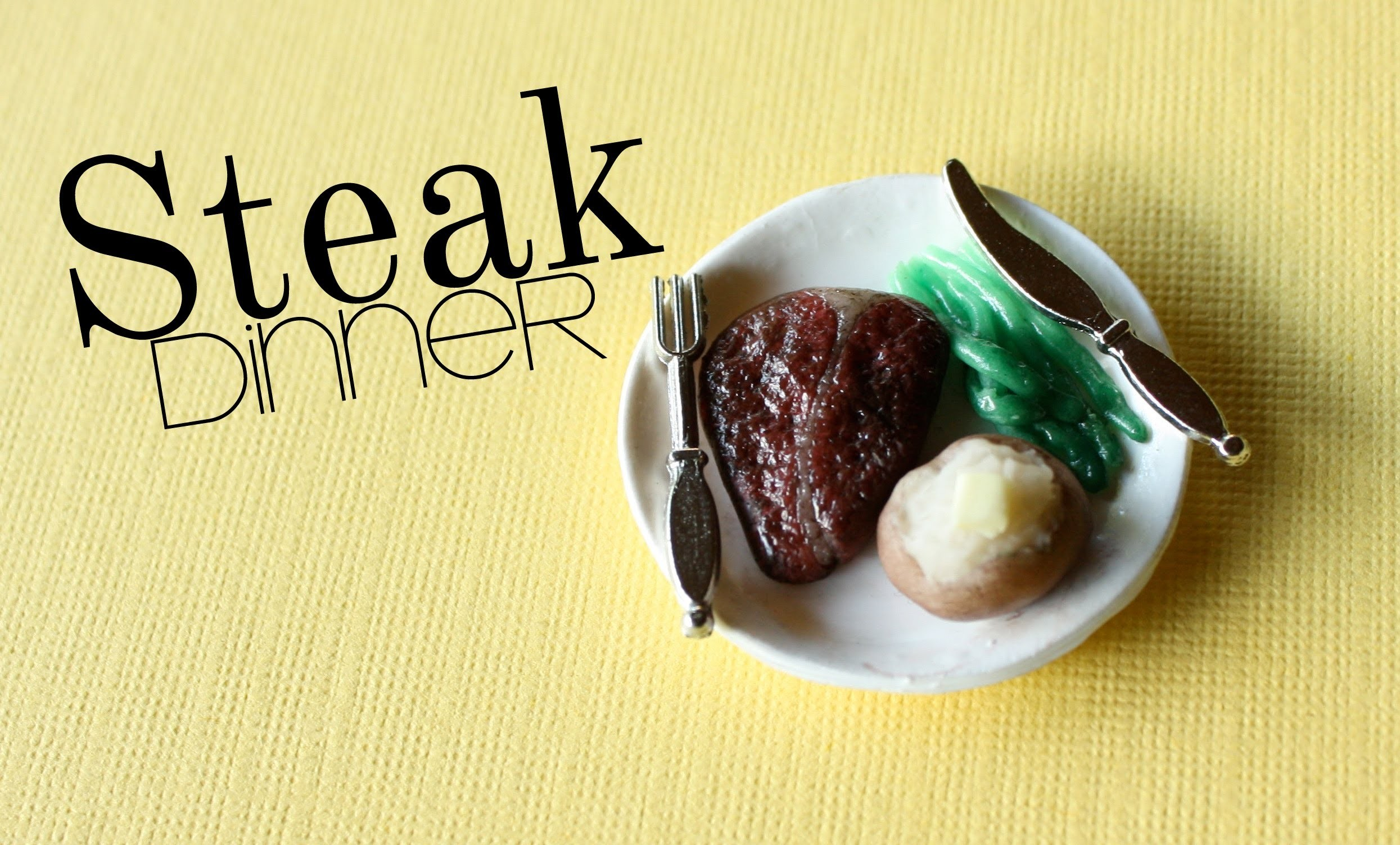 Steak Dinner - Polymer Clay Plate, Meat, Asparagus, & Baked Potatoe Tutorial